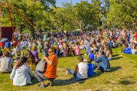Crowd at Parque Rodo Park, Montevideo, Uruguay