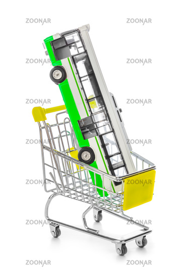 Toy bus in shopping cart