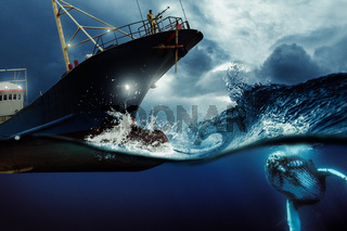 Whaler ship hunting a whale at the blue stormy sea illustration. Environmental protection and seafare concept.