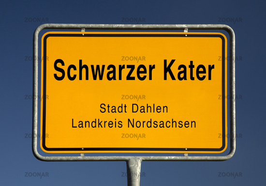 City limits sign of Schwarzer Kater, a district of the city Dahlen, Nordsachsen, Germany, Europe