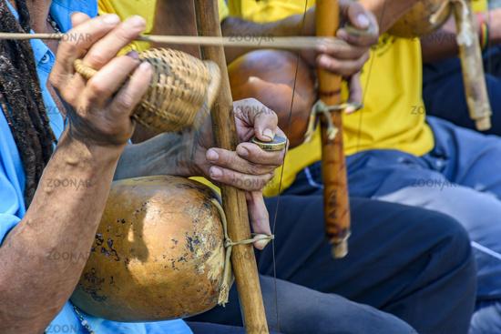 Berimbau players during presentation of Brazilian capoeira