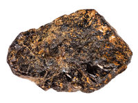 Cassiterite (Tin ore) stone isolated on white