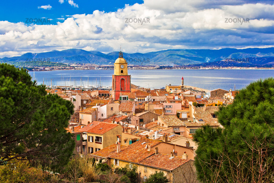 Saint Tropez village church tower and old rooftops view