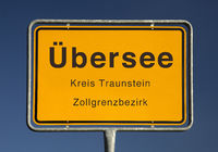 City limits sign, Uebersee or overseas, district of Traunstein, Bavaria, Germany, Europe
