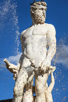 At the Neptune Fountain in Florence at Piazza della Signoria Tuscany Italy