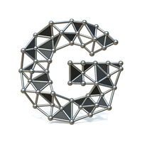Wire low poly black metal Font Letter G 3D