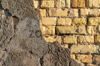 Damaged brick wall background