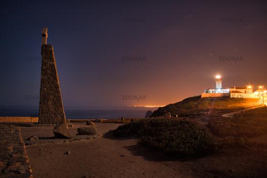 Lighthouse at Cabo da Roca at Night Twilight Dusk