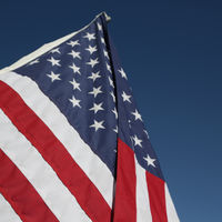 USA the waving flag in the sky