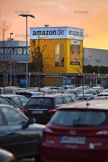 Parking at Amazon Logistics Center, Dusk, Rheinberg, North Rhine-Westphalia, Germany, Europe