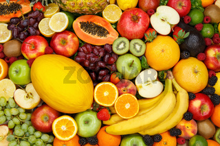 Fruits collection food background apple apples oranges lemons fresh fruit