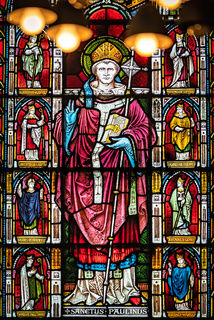 Stained glass church window portrait of Sanctus Paulinus
