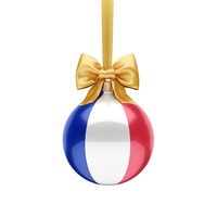 3D rendering Christmas ball with the flag of France