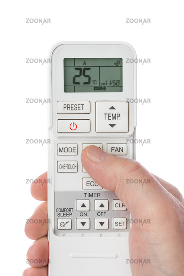 Remote control from air conditioner in hand
