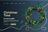 Web page design template for Christmas Holiday. Vector illustration for landing page, poster, banner and website development.