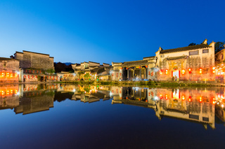 beautiful night view of hongcun ancient villages