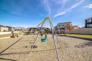 A-frame kids swings in an urban playground