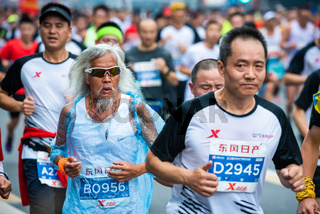 Senior chinese athlete at the Chengdu marathon