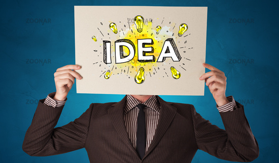 Person holding white paper with new idea concept