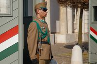 Budapest, Hungary, March 22 2018: Armed presidential guard on the Buda Hill near the residence of the president of Hungary. Guard of honor near the Presidential Palace - the national symbol of Budapest