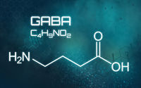 Chemical formula of GABA on a futuristic background