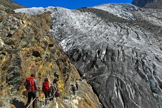 Alpiner Weg zur Monte Rosa-Hütte, Zermatt, Wallis, Schweiz