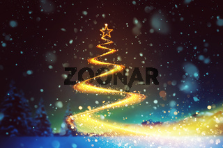 Abstract glittering gold flow on christmas tree shape follow one direction with bokeh and fade effect .
