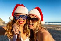 Australians reveling on beach at Christmas time