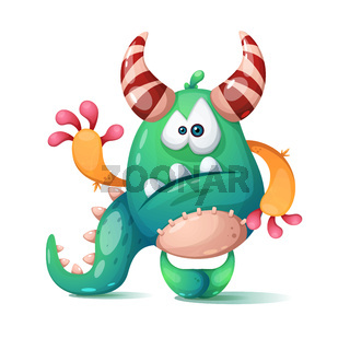 Funny, cute cartoon monster, dino.