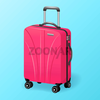 single pink luggage travel bag isolated - baggage travel suitcase icon