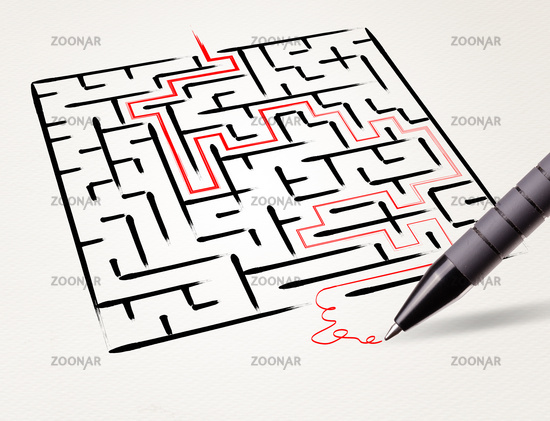 Pencil drawing the exit way out from maze