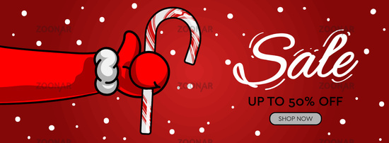 Holiday sale horizontal banner. Santa's Claus hand Thumbs Up symbol icon with candy cane, vector illustration.