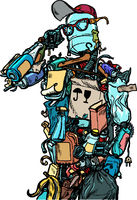 The character garbage man. Landfills dump ecology and pollution concept