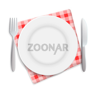 Realistic empty plate, fork and knife served on checkered rednapkin vector illustration. Can be used for advertising