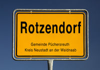 Village entrance sign from Rotzendorf, district of the municipality Puechersreuth, Germany, Europe