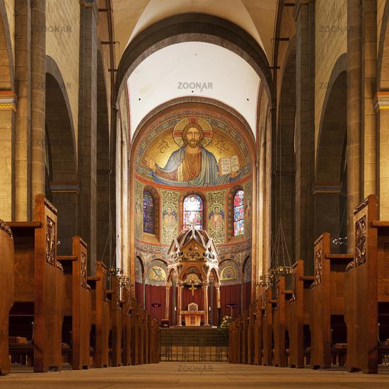Interior with Hauptapsis, abbey church Maria Laach, Glees, Rhineland-Palatinate, Germany, Europe