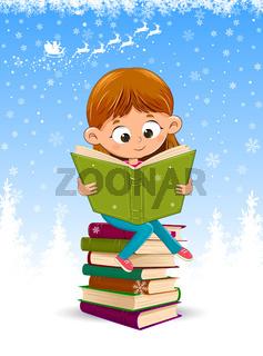 Baby girl reading a book at Christmas