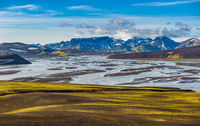 Tungnaa river in scenic highland area of Landmannalaugar, Iceland