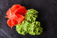 wasabi and ginger - traditional appetizer for sushi