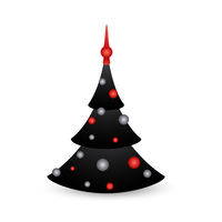Christmas tree cartoon icon isolated on white