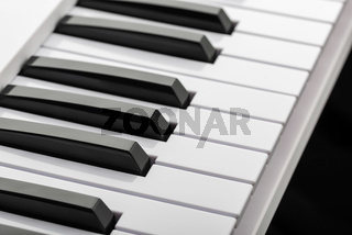 Black and white keys of a music keyboard