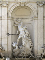 Salzburg - Chapter Fountain (Kapitelbrunnen), Neptune sculpture, Austria