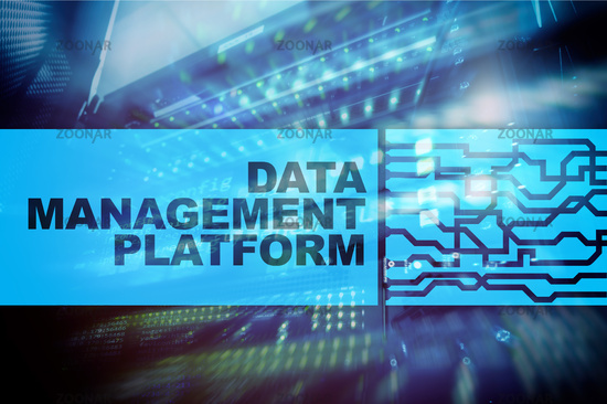 Data management and analysis platform concept on server room background