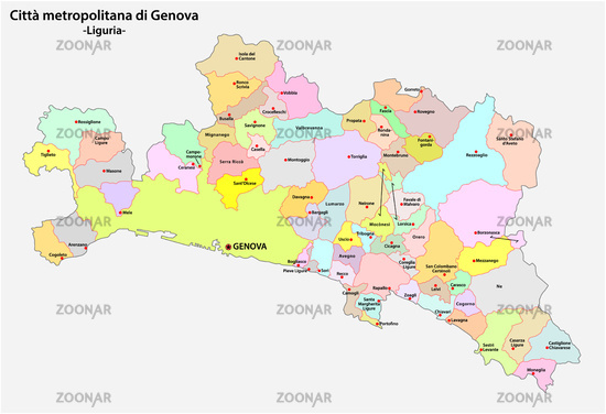 administrative and political community map of the Metropolitan city of Genoa in the region Liguria Italy