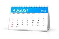table calendar 2020 august