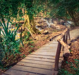 Beautiful waterfall at Erawan national park, Thailand.