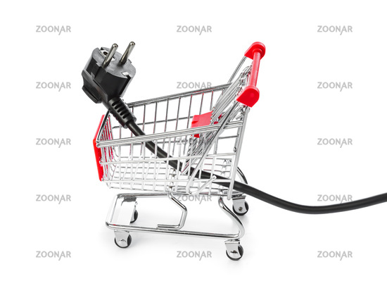 Electric plug in shopping cart