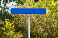 Blue street sign with no text