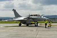 maintenance work at a French Air Force Dassault Rafale B 4-FU SPA 81 fighter aircraft