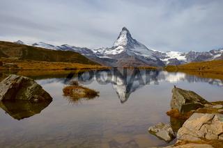 Matterhorn in autumn morning with reflection in StelliSee, Zermatt, Switzerland